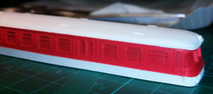 Piko VT4.12 / BR173 nach Auftrag der Farbe Verkehrsrot (RAL 3020)