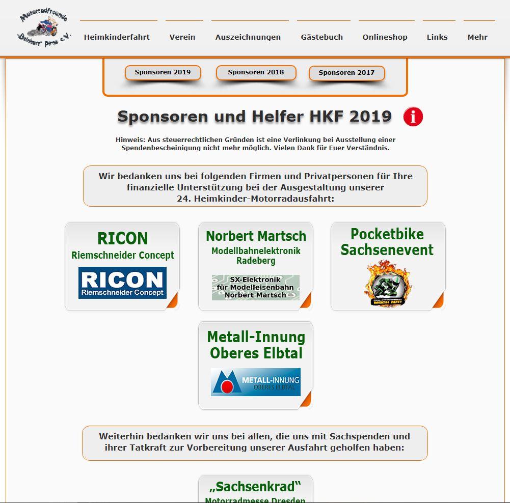 HKF 2019 Sponsoring, Quelle: Screenshot vom 12.11.2018 Sponsorenseite HKF 2019 https://www.motorradfreunde-pirna.de