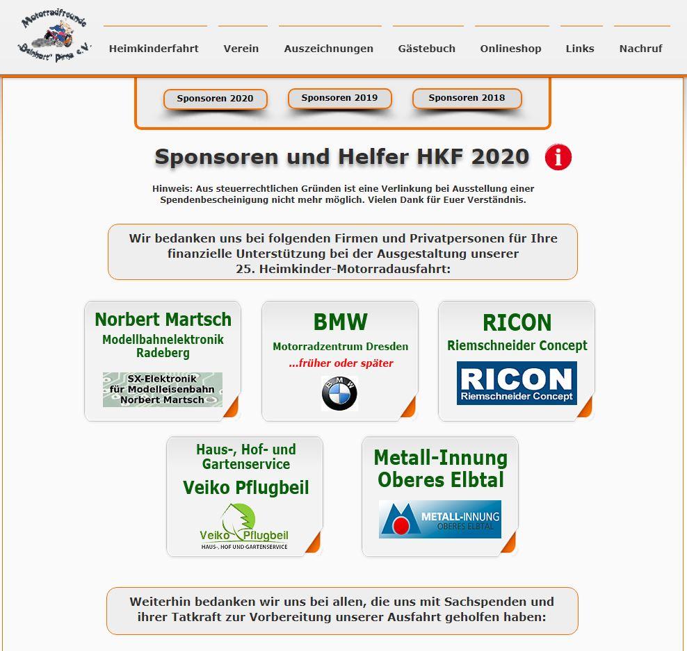 HKF 2020 Sponsoring, Quelle: Screenshot vom 05.11.2019 Sponsorenseite HKF 2020 https://www.motorradfreunde-pirna.de